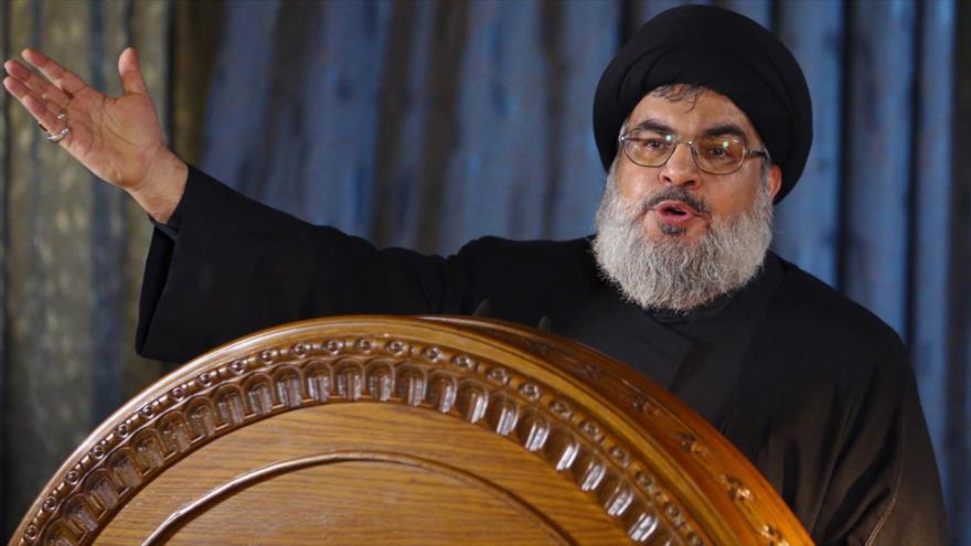 El líder del Movimiento de Resistencia Islámica de El Líbano (Hezbolá), Seyed Hasan Nasralá, durante un discurso.