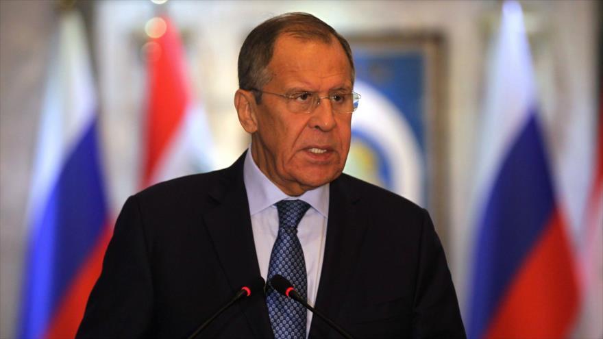 El canciller ruso, Serguéi Lavrov, habla en una conferencia de prensa desde Bagdad, capital de Irak, 7 de octubre de 2019. (Foto: AFP)