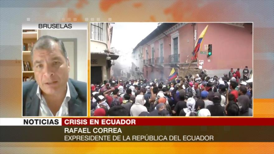 Correa en una entrevista con HispanTV trata crisis en Ecuador