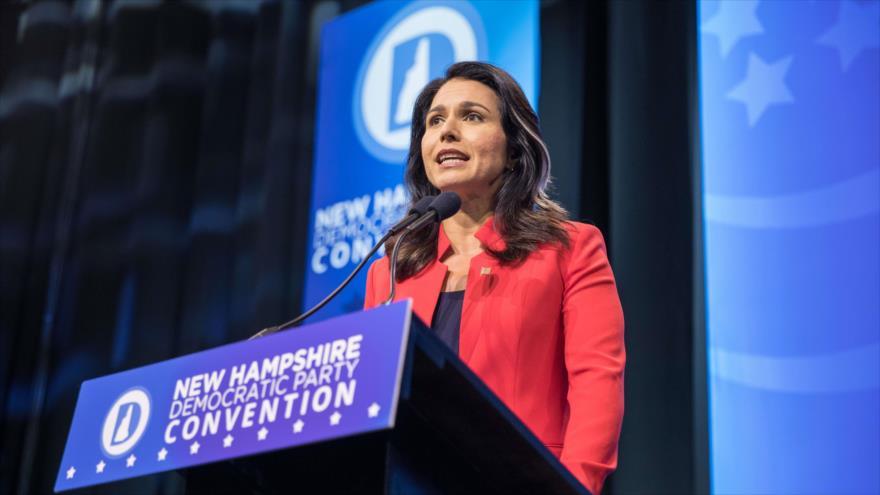 La candidata presidencia de EE.UU. Tulsi Gabbard, en estado estadounidense de Nuevo Hampshire (noreste), 7 de septiembre de 2019. (Foto: AFP)