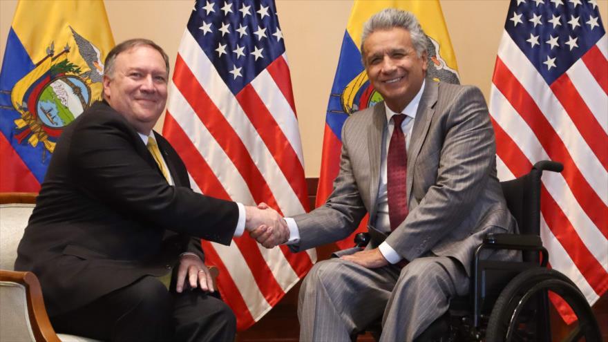 El secretario de Estado de EE.UU., Mike Pompeo (izda.), y el presidente de Ecuador, Lenín Moreno, en Guayaquil, 20 de julio de 2019. (Foto: AFP)
