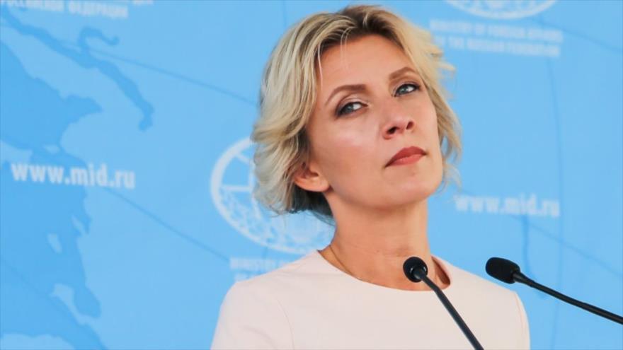 La portavoz de la Cancillería rusa, María Zajarova, en una conferencia de prensa en Moscú, la capital.