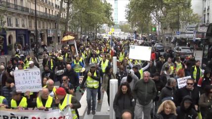 """""""Chalecos amarillos"""" protestan en Francia en su movilización 48"""