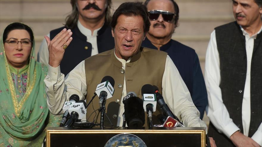 El primer ministro de Paquistán, Imran Jan, ofrece un discurso en Islamabad, la capital, 11 de octubre de 2019. (Foto: AFP)