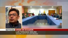 Molina: En Ecuador retornará la paz si se deroga ley de subsidios