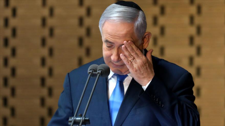 El primer ministro israelí, Benjamín Netanyahu, pronuncia un discurso en una ceremonia en Al-Quds (Jerusalén), 10 de octubre de 2019. (Foto: AFP)