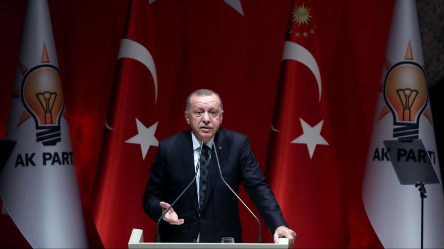 El presidente de Turquía, Recep Tayyip Erdogan, en un discurso en Ankara, 10 de octubre de 2019. (Foto: AFP)