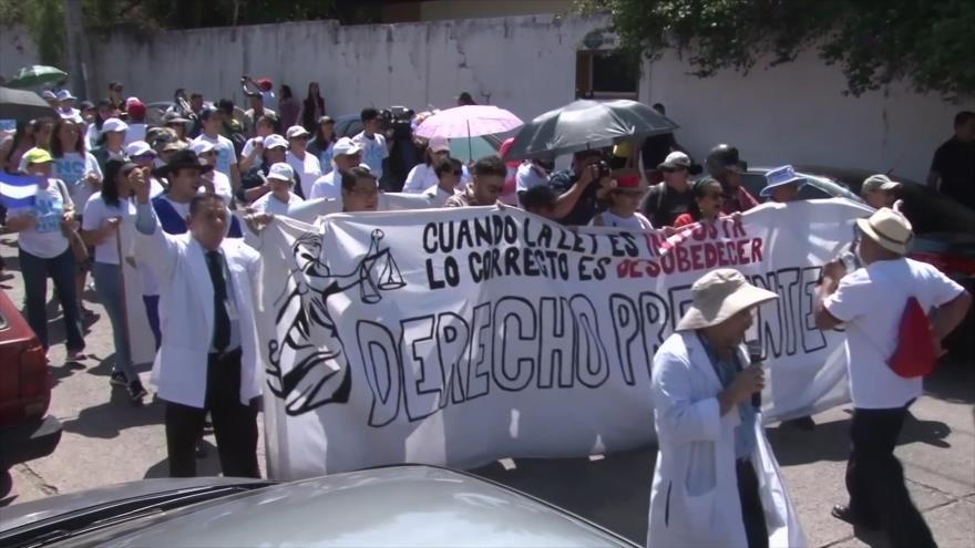 Decenas de hondureños protestan contra el nuevo Código Penal
