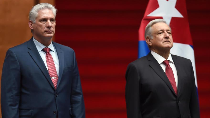 López Obrador recibe al presidente cubano para apuntalar lazos
