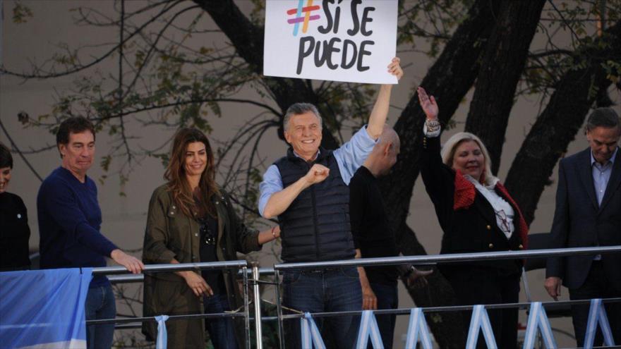 El presidente de Argentina, Mauricio Macri, en un mitin por la reelección en un acto de campaña en la provincia de Corrientes, 28 de septiembre de 2019.