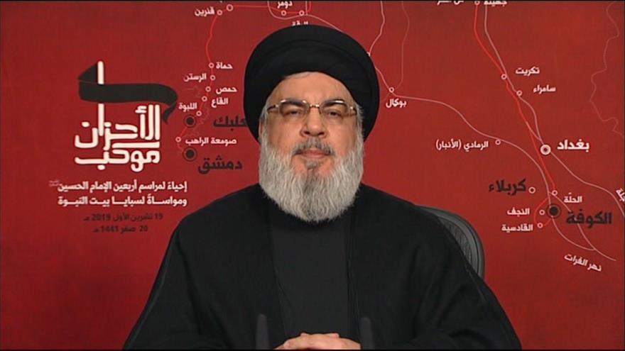 El líder del Movimiento de Resistencia Islámica de El Líbano (Hezbolá), Seyed Hasan Nasralá, 19 de octubre de 2019.