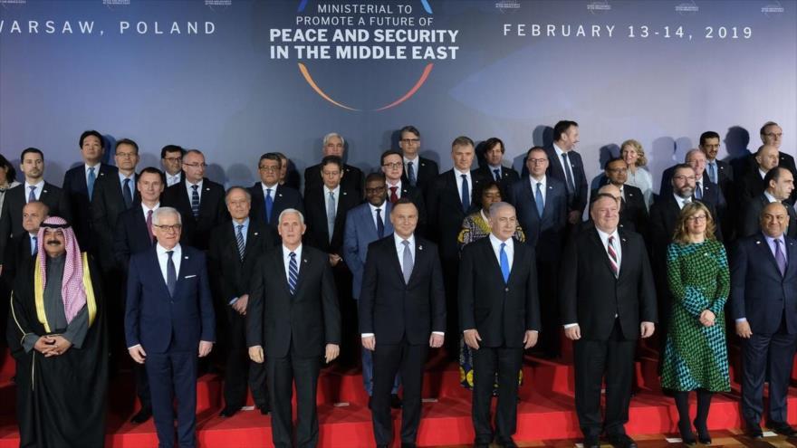 Los participantes en una conferencia sobre Oriente Medio en Varsovia, capital de Polonia, 13 de febrero de 2019.