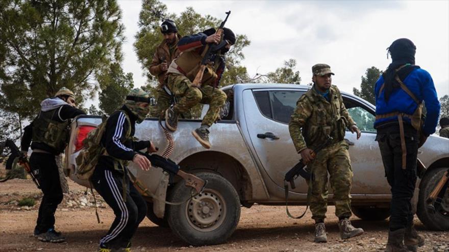 Miembros del denominado Ejército Libre de Siria (ELS) en la ciudad de Al-Bab, 4 de febrero de 2017.