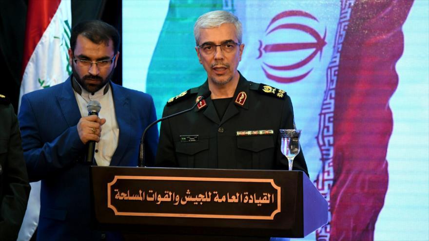 El jefe del Estado Mayor de las Fuerzas Armadas de Irán, Mohamad Hosein Baqeri, durante un discurso en Siria, 18 de marzo de 2019. (Foto: AFP)