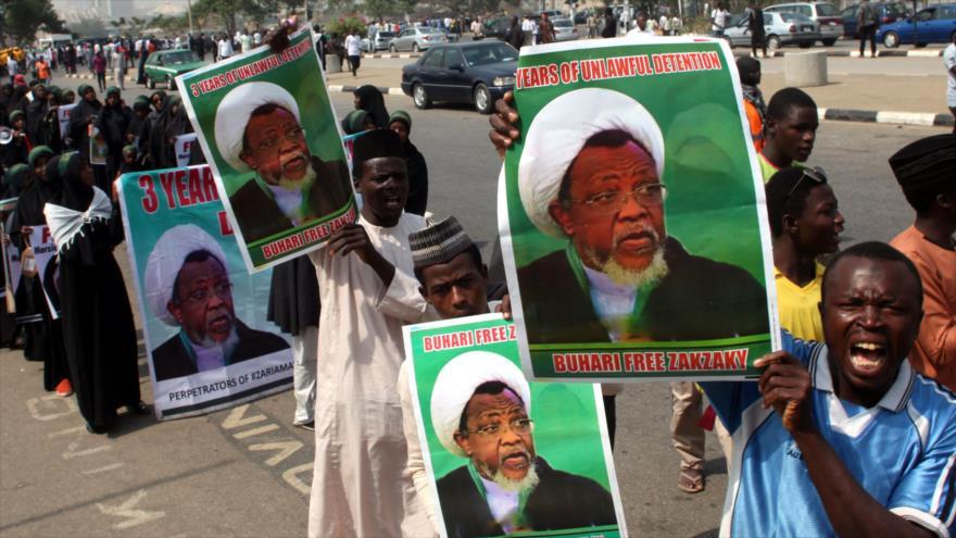 Simpatizantes del sheij Ibrahim al-Zakzaky piden su liberación en una manifestación en Abuja, capital de Nigeria, 22 de enero de 2019. (Foto: AFP)