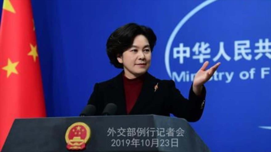 La portavoz de Ministerio de Exteriores de China, Hua Chunying, habla en una rueda de prensa.