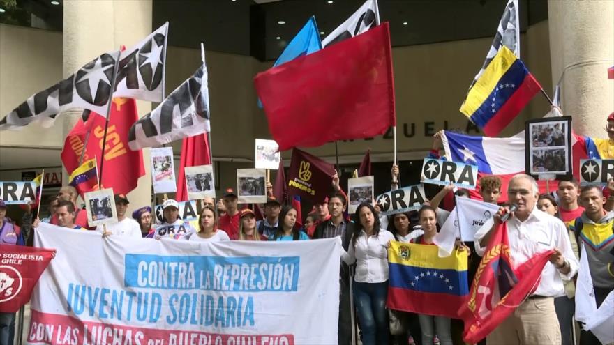 Protestan en Venezuela contra la represión policial en Chile