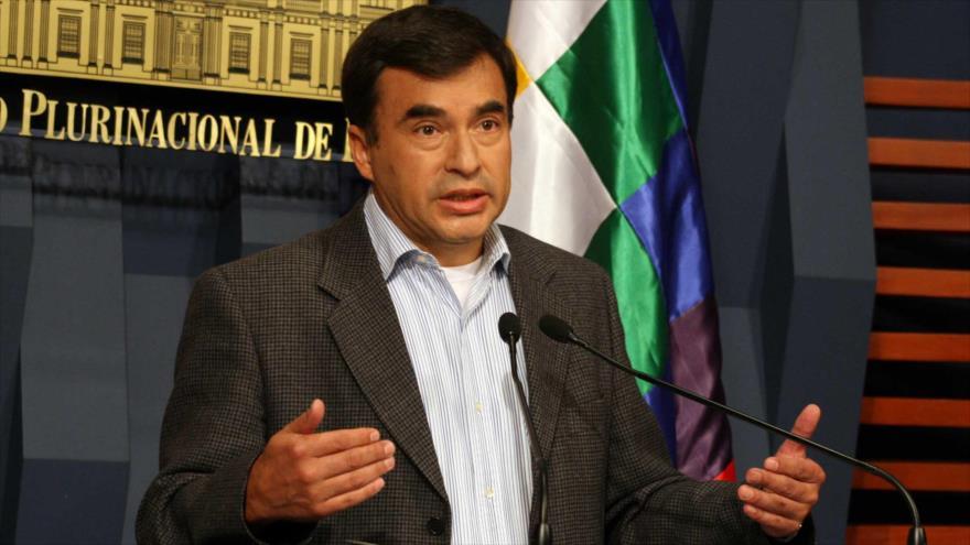 El ministro de la Presidencia del Gobierno boliviano, Juan Ramón Quintana, da una rueda de prensa en la sede gubernamental en La Paz, la capital.