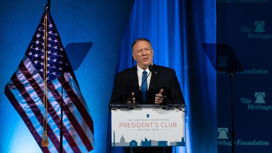 El secretario de Estado estadounidense, Mike Pompeo, habla en un acto público, Washington, 22 de octubre de 2019. (Foto: AFP)