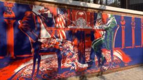 Irán inaugura nuevos murales anti-EEUU en su antigua embajada