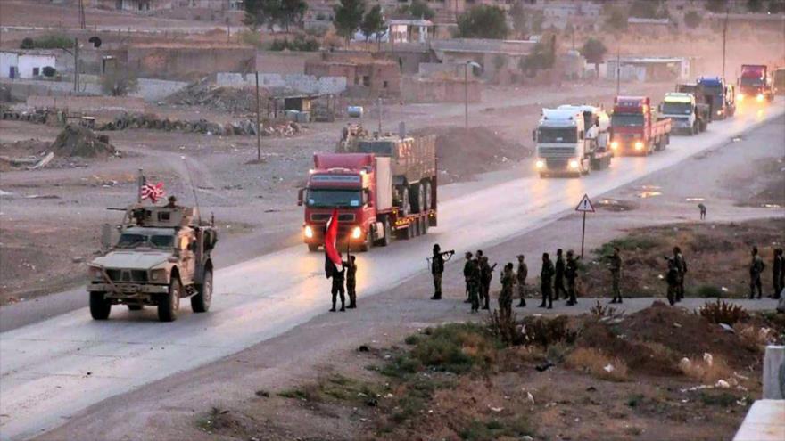 Un convoy militar estadounidense abandona Siria rumbo a Irak, 3 de noviembre de 2019. (Foto: SANA)