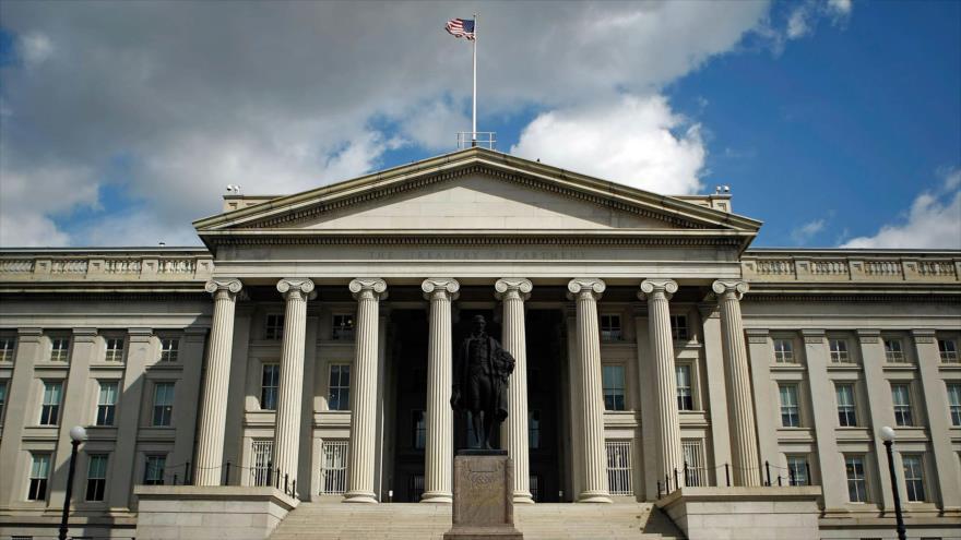 Una vista general del edificio del Departamento del Tesoro de EE.UU.