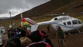 Aterriza de emergencia helicóptero que trasladaba a Evo Morales