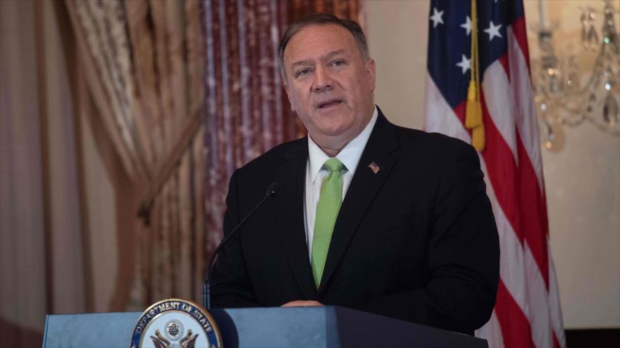 El jefe de la Diplomacia de EE.UU., Mike Pompeo, ofrece un discurso en la sede del Departamento de Estado, Washington, 31 de octubre de 2019. (Foto: AFP)