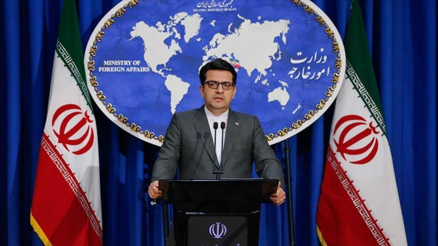 El portavoz de la Cancillería de Irán, Seyed Abás Musavi, en una rueda de prensa en Teherán (capital), 30 de septiembre de 2019. (Foto: Fars)