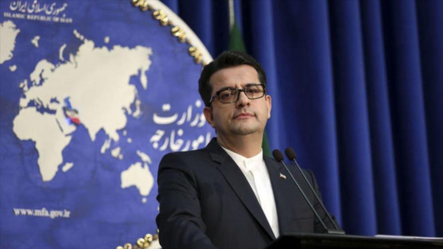 El portavoz del Ministerio de Exteriores de Irán, Seyed Abás Musavi, en una rueda de prensa en Teherán (capital persa).