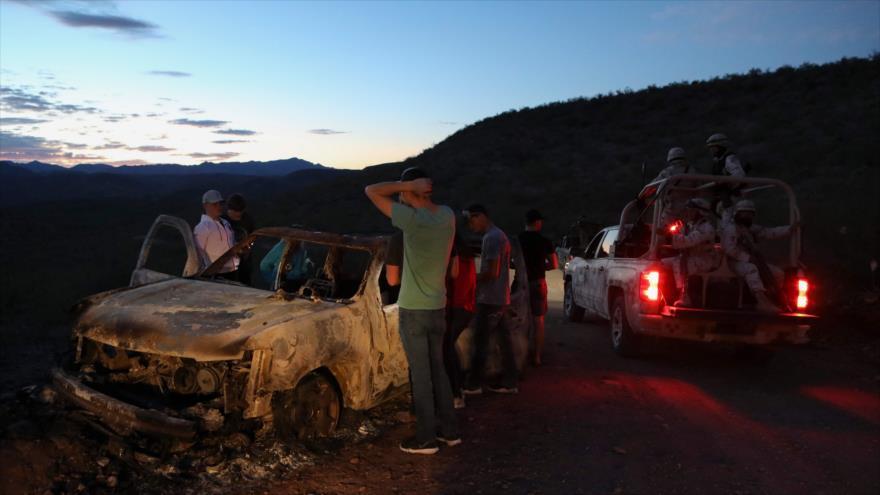 Escena de la masacre de la familia LeBarón, en el límite entre Chihuahua y Sonora, en el norte de México, 5 de noviembre de 2019. (Foto: AFP)