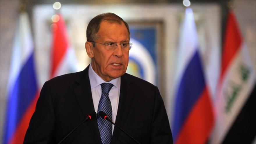 El canciller de Rusia, Serguéi Lavrov, habla durante una conferencia de prensa en Bagdad, capital de Irak, 7 de octubre de 2019. (Foto: AFP)