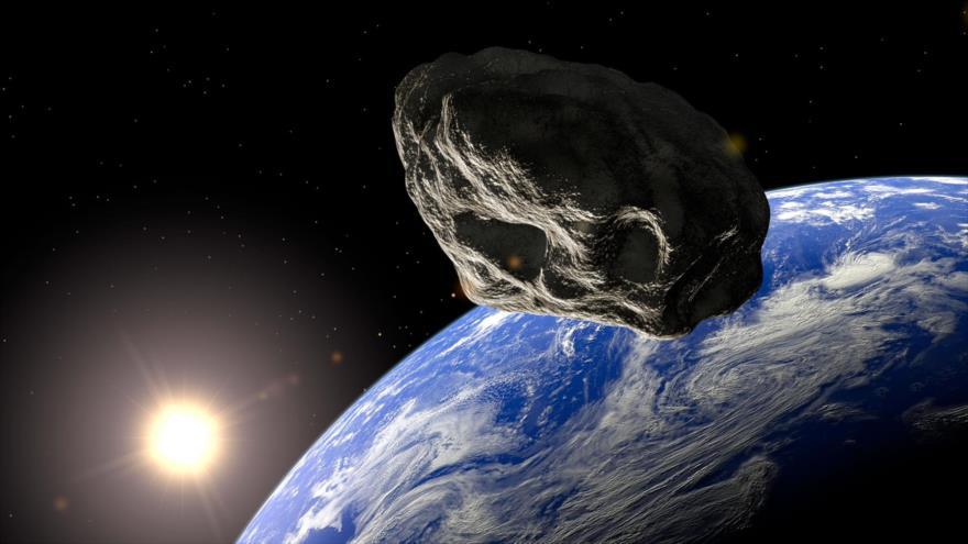 Una imagen ilustrativa de un asteroide acercándose a la Tierra.