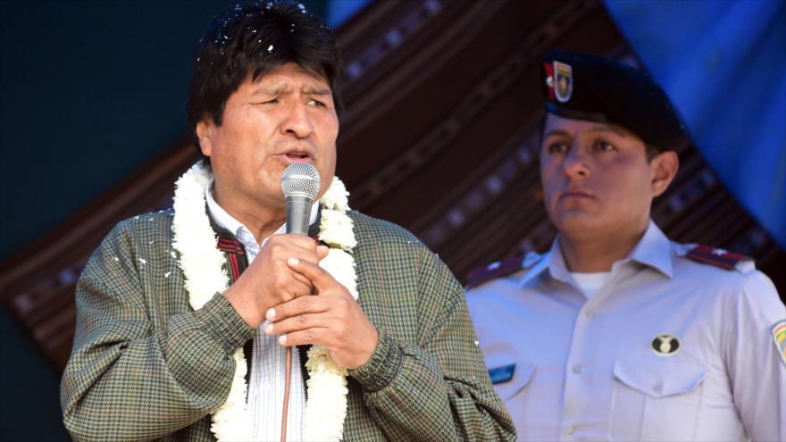 El presidente de Bolivia, Evo Morales, habla en un acto en el municipio de Totora del departamento de Cochabamba, 7 de noviembre de 2019. (Foto: ABI)