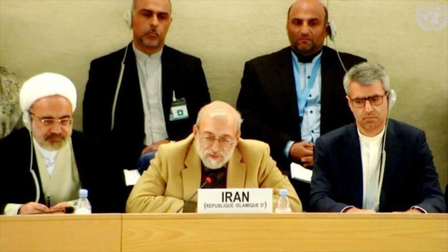 El presidente del Consejo de Derechos Humanos de Irán, Mohamad Yavad Lariyani (centro), en la 34.ª cumbre del UPR en Ginebra, 8 de noviembre de 2019.