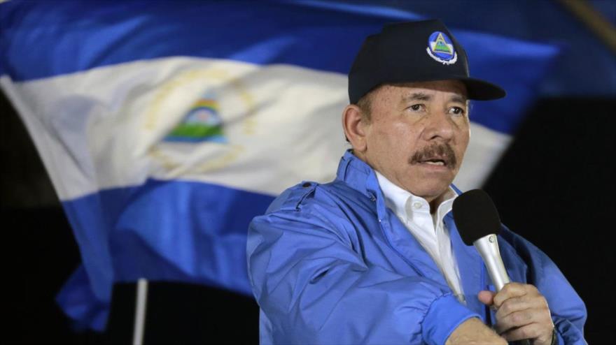 El presidente de Nicaragua, Daniel Ortega, habla durante un acto.