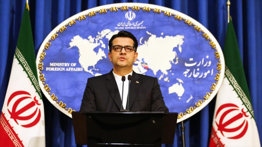 El portavoz de la Cancillería de Irán, Seyed Abás Musavi, ofrece una rueda de prensa en Teherán, 28 de mayo de 2019. (Foto: AFP)
