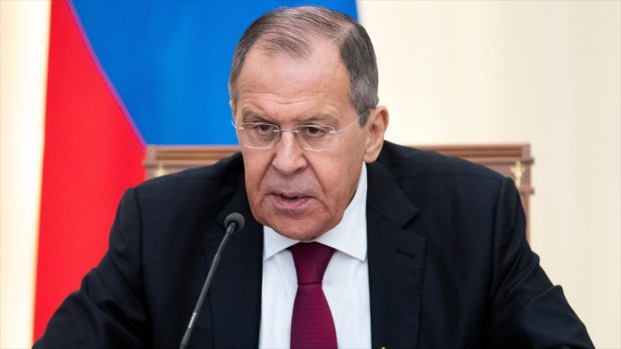 El canciller de Rusia, Serguéi Lavrov, habla en una rueda de prensa en Sochi, 13 de mayo de 2019. (Foto: AFP)