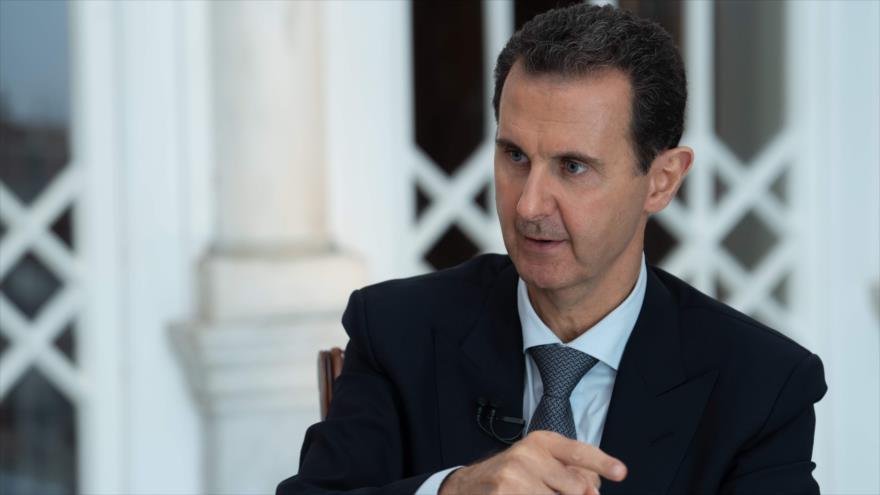 El presidente sirio, Bashar al-Asad, durante una entrevista a la televisión estatal siria, 30 de octubre de 2019. (Foto: AFP)