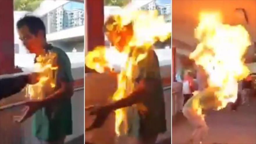 Vídeo: Prenden fuego a un hombre en protestas en Hong Kong