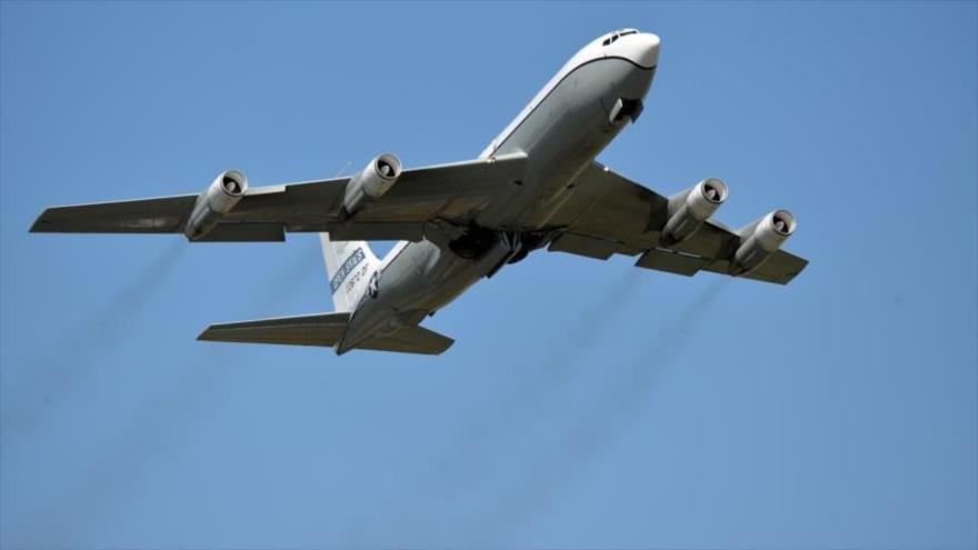 Un avión de la Fuerza Aérea estadounidense despega de la base aérea de Ramstein, Alemania, julio de 2019.