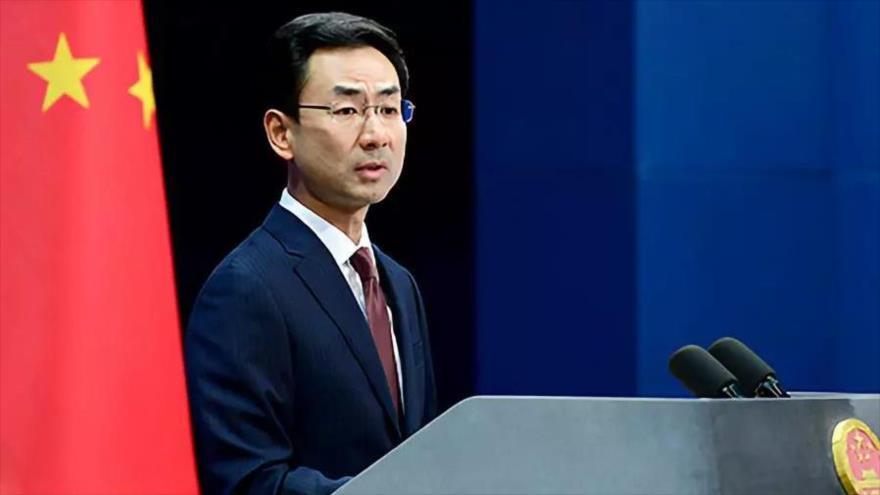 Geng Shuang, portavoz de la Cancillería de China, habla en una conferencia de prensa en Pekín, capital china, 12 de noviembre de 2019.