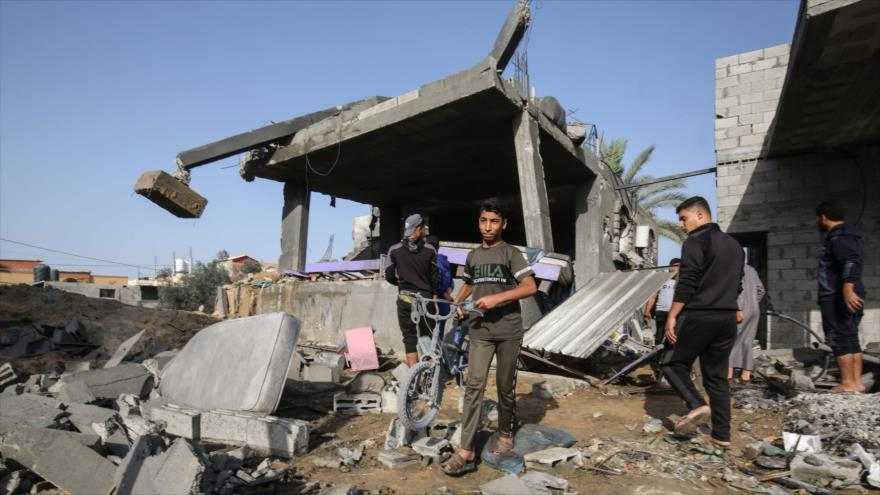Una casa destruida por un ataque israelí contra Jan Yunis, en el sur de la Franja de Gaza, 13 de noviembre de 2019. (Foto: AFP)