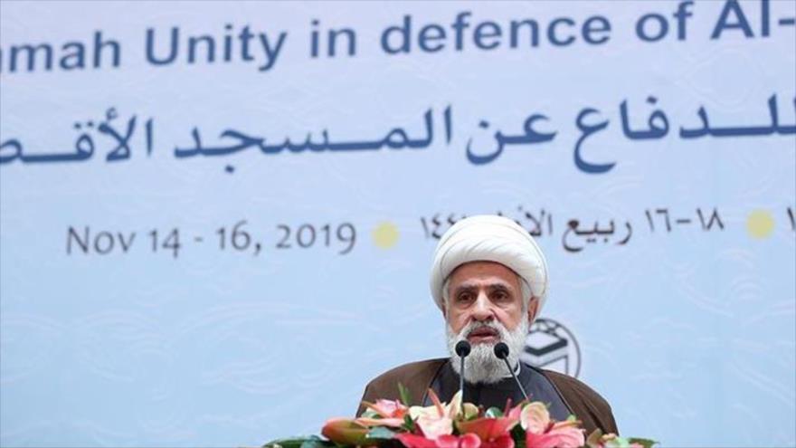 El vicesecretario general de Hezbolá, el sheij Naim Qasem, en la 33.ª Conferencia Internacional de la Unidad Islámica, 14 de noviembre de 2019. (Foto: Tasnim)