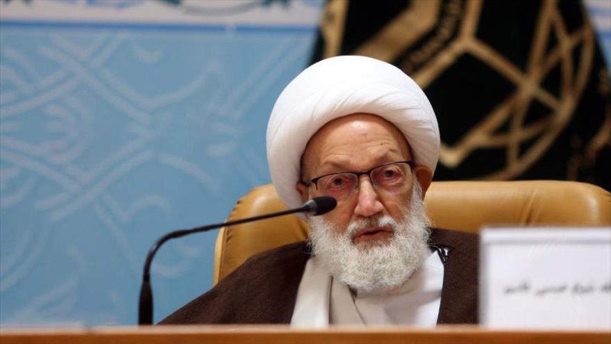 El clérigo chií de Baréin el sheij Isa Ahmad Qasem en la 33.ª Conferencia Internacional de la Unidad Islámica, 14 de noviembre de 2019. (Foto: Fars)