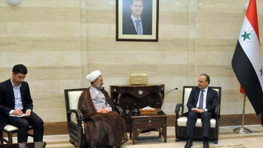 Presidente de la Comisión de Seguridad Nacional y Política Exterior de la Asamblea iraní (izda.) y el premier sirio, Damasco, 14 de nov. de 2019. (Foto: Icana)