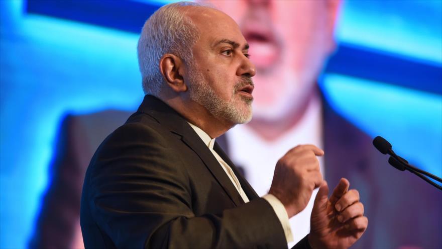 El canciller de Irán, Mohamad Yavad Zarif, habla en una conferencia en La India, 9 de enero de 2019. (Foto: AFP)