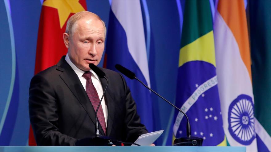 El presidente ruso, Vladimir Putin, en una reunión del BRICS en Brasilia, 13 de noviembre de 2019. (Foto: AFP)