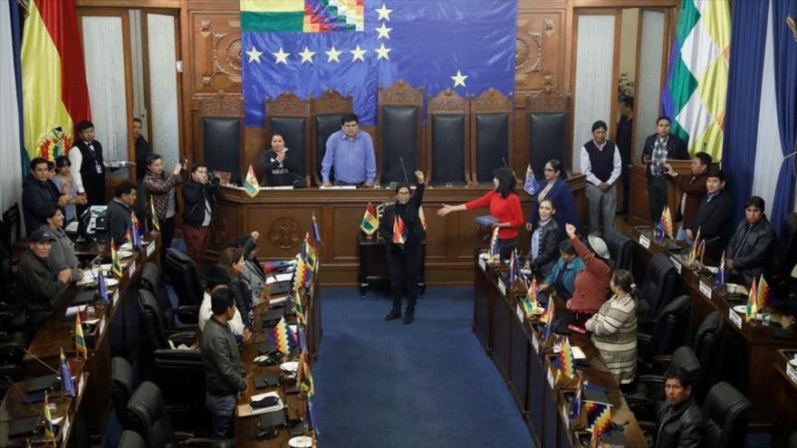 Juramentada como nueva presidenta del Senado la legisladora del MAS Mónica Eva Copa, 14 de noviembre de 2019.