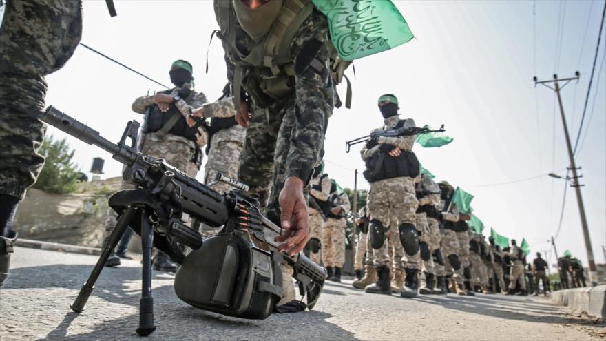 Miembros del brazo armado de HAMAS, las Brigadas Ezzedin Al-Qassam, en la Franja de Gaza, 11 de noviembre de 2019. (Foto: AFP)